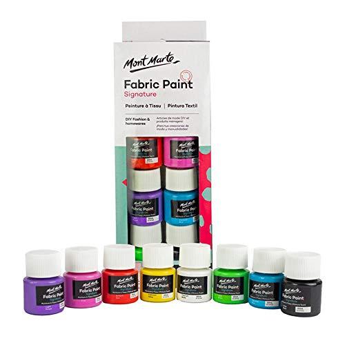 Mont Marte Permanent Fabric Paint Set 8 x 20ml Vivid Colours for Textile, Fabric, T-Shirt, Canvas, Wood, Ceramic, Glass