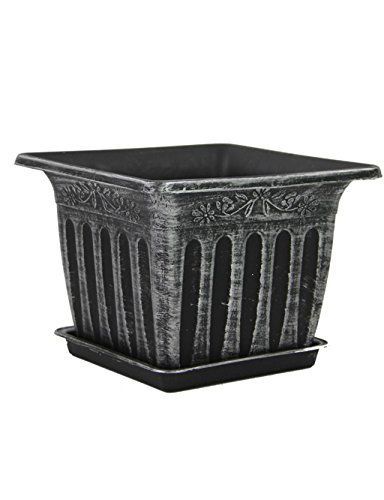 XYZ Nordic Piazza Retro plastica vasi da fiori, vasi Piantare Verde, Fiore fioriera con vassoio delicato durevole ( colore : Silver )