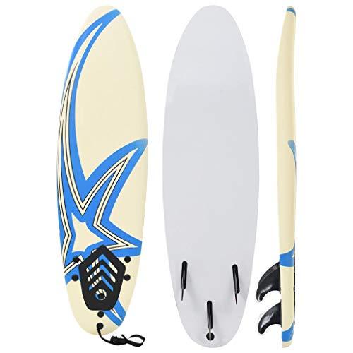 Festnight Tabla de Surf para los Adultos y Niños, con 1 Correa y 3 Aletas Extraíbles de Plástico Diseño de Estrella 170 x 46,8 x 8 cm