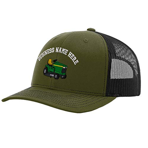 Custom Richardson Trucker Hat Riding Lawn Mower C Embroidery Business Name Polyester Baseball Mesh Cap Snaps - Loden/Black, Personalized Text Here