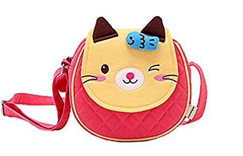 Moolecole Cartoon Tier Handtasche Kleinkind Mädchen Jungen Baumwolle Schultertasche Kindergarten Wandern Reisetasche Orange Katze