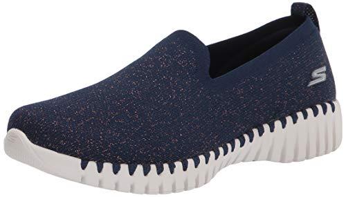 Skechers Damen GO Walk SMART Sneaker, Marineblauer Textilrand, 37 EU