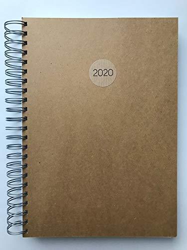 2020 NATUR (Kraftpapier/braun) dicker TageBuch Kalender DIN A4 - für jeden Tag eine Seite …