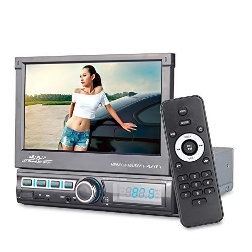 NOPNOG 1 DIN Auto Radio, Auto Multimedia Player, MP5 Bluetooth FM AUX Radio, Full HD 1080, Automatisches Teleskop, 7 '' Touchscreen, mit Fernbedienung