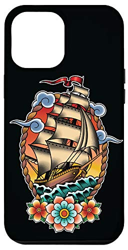 iPhone 12 Pro Max Old School American Traditional Tattoo flash Clipper Ship Case
