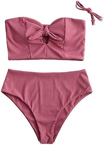 ZAFUL Women s Keyhole Tankini Swimsuits Knot Front Lace Up Back Bikini Set S Tulip Pink Ribbed product image