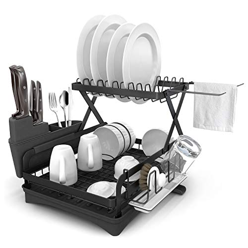 Dish Drying Rack, 2 Tier 304 Stainless Steel Dish Drainers for Kitchen Counter with Drainboard,Swivel Spout, Utensil Holder, Cutting Board Holder and Cup Holder, Large Capacity,Rustproof (Black)