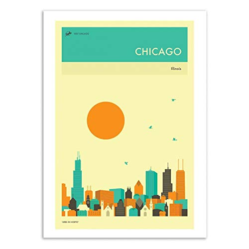 Wall Editions - Kunstposter - Chicago Travel Poster - Jazzberry Blue