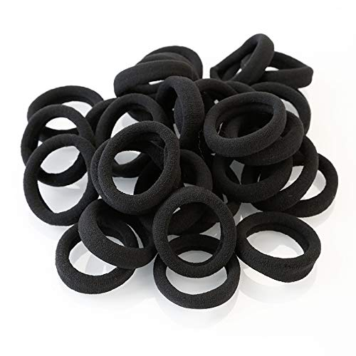 100pcs Hair Ties Black Elastic bands for Women and Girls (black) by VGAD