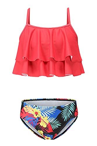 Costume da bagno da bambina a due pezzi, costume da bagno hawaiano, con volant, floreale, 3-16 anni, Bikini rosso, 9-10 Anni