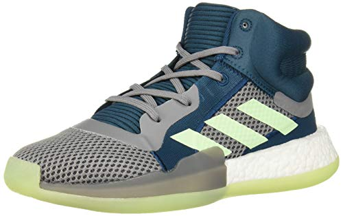 adidas Unisex-Kid's Marquee Boost Basketball Shoe, Tech Mineral/Glow Green/Grey, 3.5 M US Big Kid