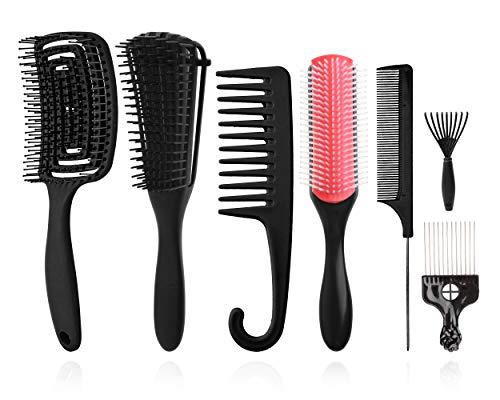 Set Spazzole per styling capelli,9file di ammortizzatori Spazzola per shampoo in setola di nylon/Spazzola per capelli ventilata per separare modellare e definire ricci Capelli bagnati/asciutti Afro
