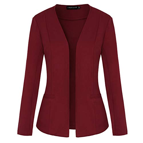 MINTLIMIT Damen Kurze Blazer Elegante Slim Fit Jacke Anzug Business Büro Cardigan Kurzjacke Lange Arm tailliert(Weinrot,Größe L)