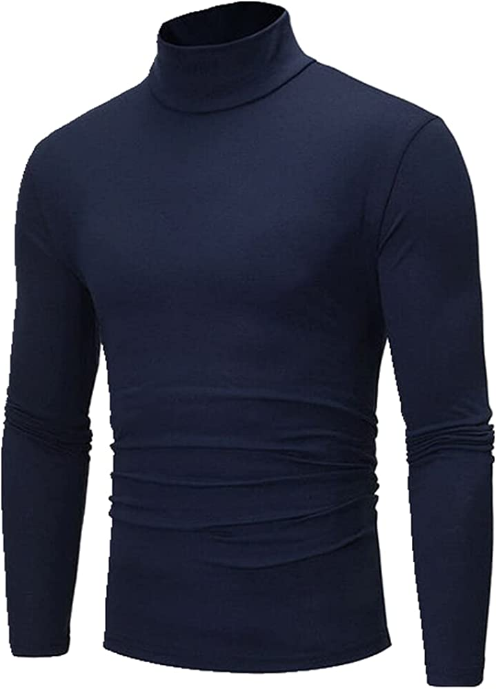 NP Winter Men's Thermal Long Sleeve Roll Color Male Slim Basic Stretch Tee