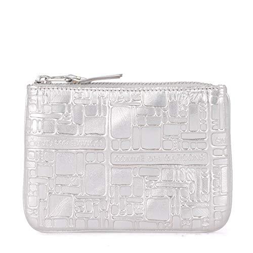 Comme des Garçons Etui Wallet in Leder Silber mit Prägung