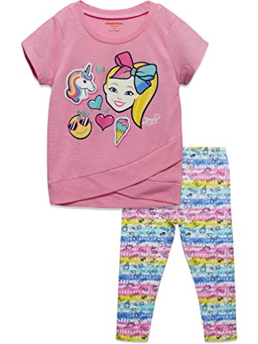 JoJo Siwa Little Girls Fashion Crossover Short Sleeve T-Shirt Legging Set Pink 6