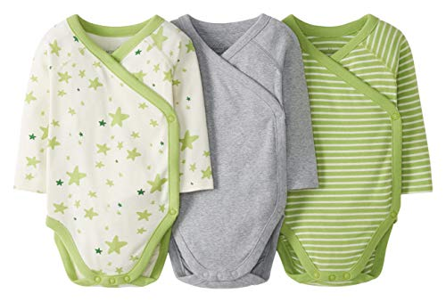 Moon and Back by Hanna Andersson 3 Pack Long Sleeve Side Snap Bodysuit Infant-and-Toddler-Bodysuits, Lime Green, 0 Meses, Pack de 3