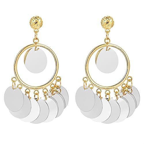 xingguang Pendientes largos creativos de moda para mujer con lentejuelas coloridas y pendientes colgantes de oro para mujer, pendientes de gota bohemios (color metálico: EH1660)