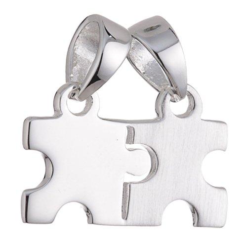 Vinani Anhänger zwei Puzzleteile trennbar mattiert glänzend Puzzle Sterling Silber 925 APT-EZ