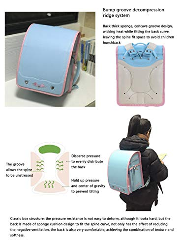 MIMI KING Japanese Style Primary School Schoolbags for Boys and Girls PU Leather Wear-Resistant Light Waterproof Children's Backpack,Black