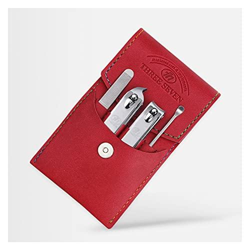 YZERTLH Kit Manicura Conjunto de manicura de la podadora de Clavos del hogar, 4 en 1 Kit de pedicura de Acero Inoxidable Kit de Aseo Profesional con Caja de Viaje de Cuero Set Manicura (Color : Red)