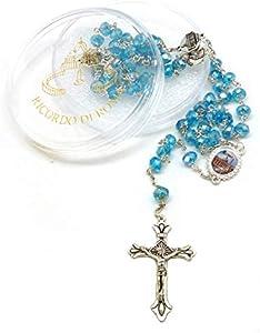 Dell'Arte Artículos Religiosos – Rosario de cristal con Pater Le 4 Basiliche Romane 8 x 6 mm Color Turquesa – Con caja para rosario SRL