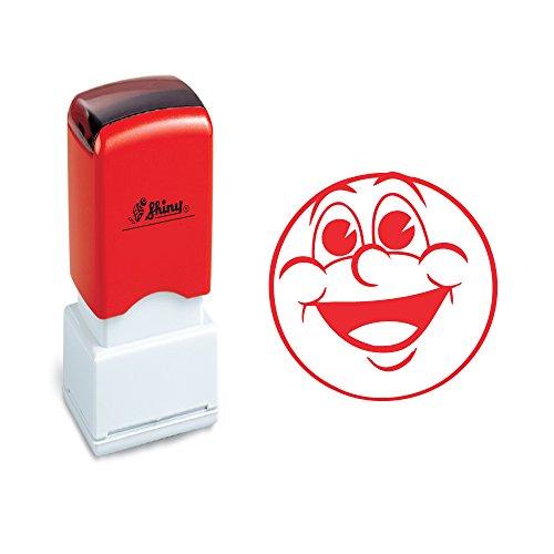 Rode grote glimlach gezicht ontwerp zelf-inkeping leraar markering en lof stempel
