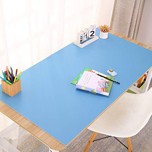 Leather Desk Pad,Multifunctional Desk Pad Office Desk Mat Waterproof Desk Mat Extended Mouse Pad Laptop Desk Pad for Writing Office Home Gaming-Blue. 140x70cm(55x28inch)