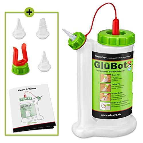 Pinava® Leimflasche - Original GluBot (für 473ml) - Kein Drehen, kein Schütteln & kein Warten - Leimspender für Holzleim Inkl. 4 Spitzen - Sauberes Auftragen & Dosieren - 8-teilig, FastCap