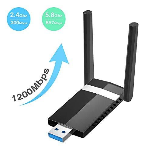 SoataSoa WLAN Adapter 1200Mbit/s (5.8G/867Mbps+2.4G/300Mbps), WiFi Adapter USB 3.0 AC Dualband Wireless Adapter, USB WiFi Dongle für Windows, Mac OS X, PC/Desktop/Laptop