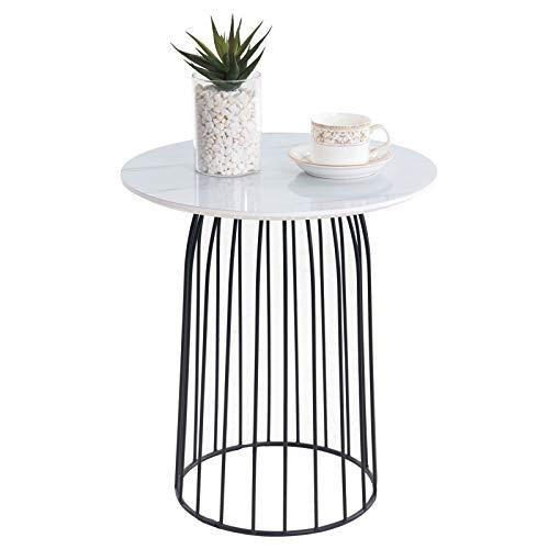 CARO-Möbel Couchtisch Salamanca Beistelltisch Wohnzimmertisch rund Retro, mit Metallkorb, in Marmor weiß