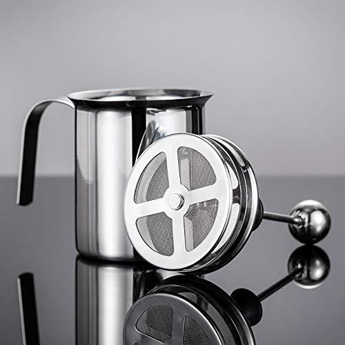 PGODYQ Espumador de leche de mano, herramienta de decoración de café de espuma de leche de acero inoxidable, jarra de espuma de leche de mano, para decoración de capuchino