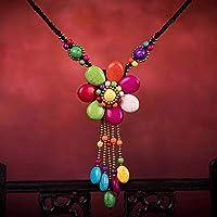 Wvfguj ネックレスエスニックスタイルネックレス手作りターコイズフラワーセーターチェーンレトロロング手織りネックレスレディースネックレスガールフレンド誕生日ギフト 美しいネックレス (Color : Multi-colored)