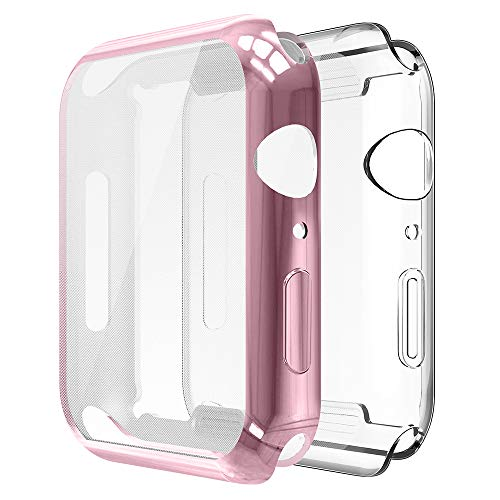 Simpeak 2-Packs Funda Compatible con iWatch 40mm Series 6/SE/5/4, Funda Compatible con Apple Watch 40mm Slim Suave TPU Protector, Transparente y Rosa