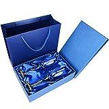 WENSHENG Copas de Vino 2 PCS/Set Crystal Wedding Champagne Flauts Stand Metal con El Esmalte Creativo Estilo Cubilet Glass Boda Regalos De Cumpleaños, Flautas De Champagne (Color : A02 Blue Rose)