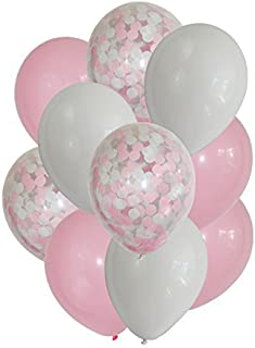12'' Pink Confetti Balloons for Girl Baby Shower Party Decoration (Pack of 12) (Pink)