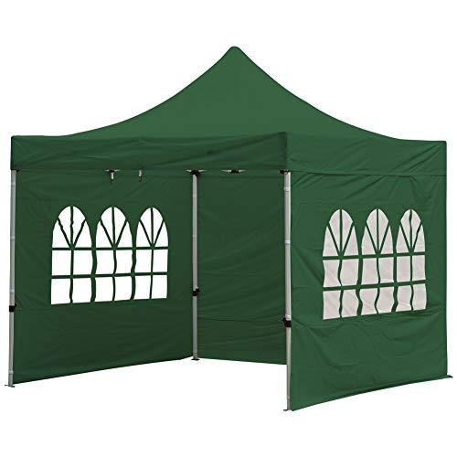 Fnova Garden Gazebo Marquee Tent with Side, 3 x 3M Pop Up Garden Canopy Waterproof Gazebo Camping Tent Shelter Outdoors (Green)