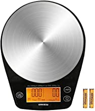 ERAVSOW Coffee Scale with Timer, Digital Hand Drip Coffee Scales,Stainless Steel Kitchen Food Weight Scale with Precision Sensors LCD Display & Hanger Hole 6.6lb/3kg (Batteries Include)