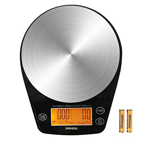 ERAVSOW Coffee Scale with Timer, Digital Hand Drip Coffee Scales,Stainless Steel Kitchen Food Weight Scale with Precision Sensors LCD Display & Hanger Hole 6.6lb/3kg Batteries Include