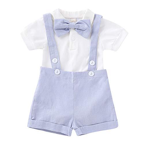 Puseky 2 stks/Set Baby Jongens heren pak Bow Tie Romper & Suspender Broek Outfits (Kleur: Lichtblauw, Maat : 18M-24M) (0-6M, Lichtblauw)