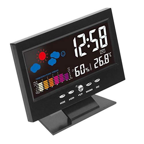 YLWL Elektronische Digitale Temperatur Feuchtigkeitsüberwachung Uhr Wettervorhersage Uhr Schwarz