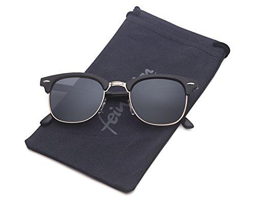 Vintage Sonnenbrille im 60er Style mit trendigen bronzefarbenden Metallbügeln Panto - Retro Brille (schwarz)