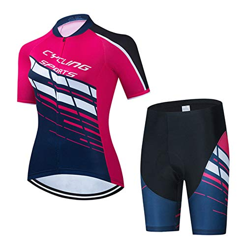 Women's Cycling Jersey Set, Breathable Quick Dry Cycle Short Sleeve Jacket 19D Cushion Padded Tight Shorts (Color : G, Size : X-Small)