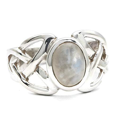Anillo de plata de ley 925 Piedra de luna (No: MRI 147)