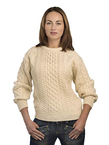 Aran Crafts Irish Soft Cable Knitted Wool Crew Neck Sweater (C1347-LG-ECR)