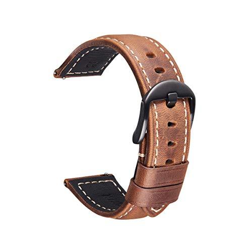 Nywing Correa de Reloj de Cuero Genuino, Correa de Cuero Vintage con Hebilla de liberación rápida y Hebilla Negra Plateada 20 mm 22 mm 24 mm