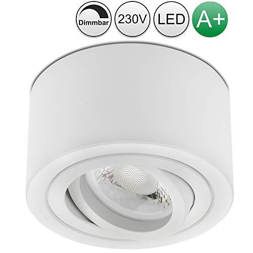 lambado® Premium LED Aufbauleuchte flach/Deckenstrahler Set inkl. 230V 5W Spots dimmbar - dezente Aufbaustrahler/Deckenspots (rund, weiss, schwenkbar)