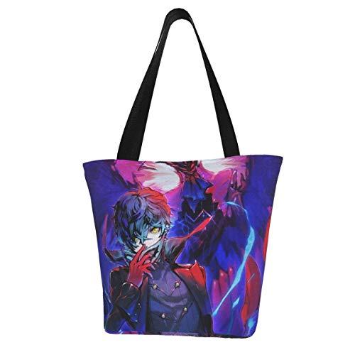 Hagerloo Persona 5, bolso de lona para mujer, bolso de cubo personalizado de Anime, bolso de hombro de moda esencial para todos los días, bolso espacioso y espacioso