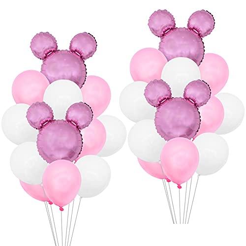 24PCS Mickey Globo,OYSJ Decoraciones de cumpleaños de Mickey Mouse,Decoraciones de Fiesta temática Rosa de Mickey para Decoración de Fiesta de Cumpleaños