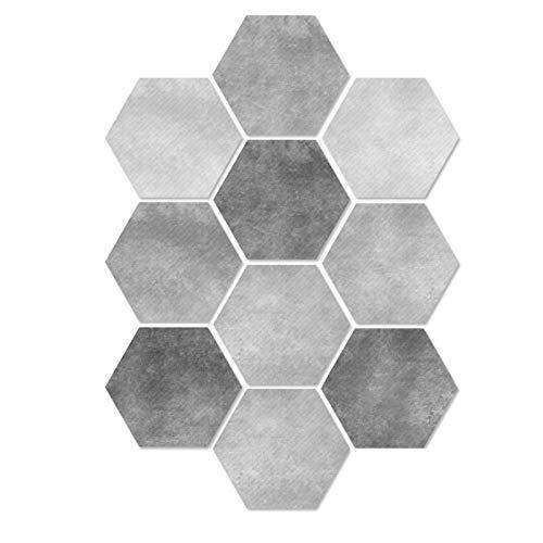 10 pegatinas hexagonales antideslizantes para decoración del hogar, pegatinas de pared autoadhesivas para sala de estar, cocina, baño, 20 x 22,8 cm, cemento, blanco y negro